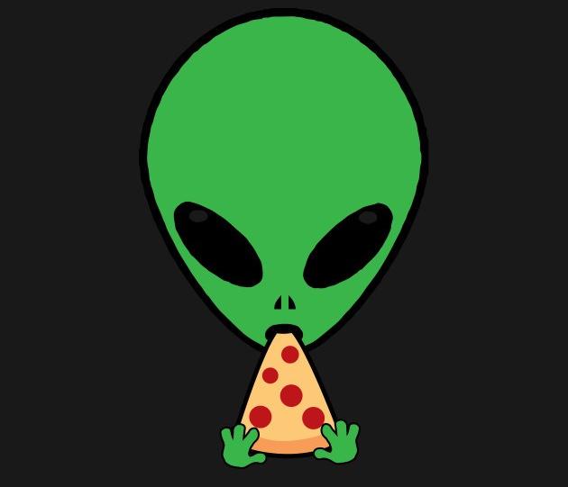 Alien Eating Pizza