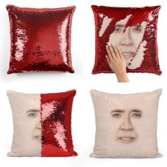 Nicolas Cage Glitter Pillow